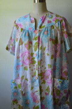 Vintage House Dress 1960's Cotton Robe House Coat by EadoVintage, $17.50
