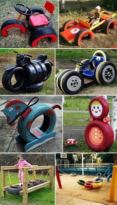 Simple ideas for reusing tires in outdoor play areas and backyards.Simple ideas for reusing tires in outdoor play areas and backyards.Workshops - Kids Hub training and adviceProfessional workshops - kids hub training and adviceMENTŐÖTLET - Tyre Ideas For Kids, Outdoor Fun For Kids, Outdoor Play Areas, Diy For Kids, Tires Ideas, Kids Backyard Playground, Natural Playground, Playground Design, Backyard For Kids
