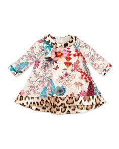 Roberto Cavalli Baby Girls' Floral-Print Long-Sleeve Dress