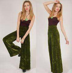 Vintage 70s VELVET Pants EMERALD Green High by LotusvintageNY