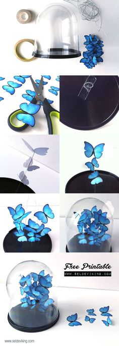 Schmetterlinge aus Papier in einer Glas Cloche selber machen. Fliegende blaue Schmetterlinge DIY