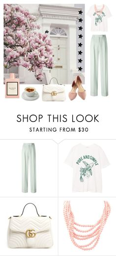 """""""pure and simple"""" by kseniakul ❤ liked on Polyvore featuring John Galliano, MANGO and Gucci"""