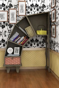 Forget about the winding staircase, what about a leaning bookshelf?!