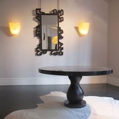 "Table ""Salome"" by Gatouste & Bonetti / Sconces ""Petalo"" by Mauro Fabbro (Alexandre Biaggi's edition) / Mirror ""Zeus"" by Patrice Dangel (Alexandre Biaggi's edition)"