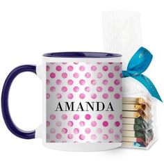 Watercolor Dots Mug, Blue, with Ghirardelli Assorted Squares, 11 oz, Pink
