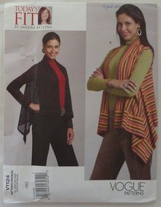 Sewing Pattern Vogue 1124 - Misses Loose Fitting Cardigan and Vest - All Sizes Included - UNCUT