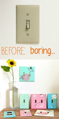 Rather than buying expensive ready-made switch plates make them yourself and have them match your rooms.