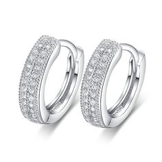 Sterling Silver Simulated Diamond Hoop Earrings ESCH8054 -- See this great product. Note:It is Affiliate Link to Amazon.