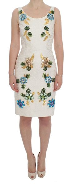 9bf92c6b Dolce & Gabbana Gorgeous brand new with tags, Authentic Dolce & Gabbana  white floral brocade Sicily crystal brooches sheath dress.