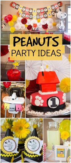 This Snoopy birthday party for twins turned out fantastic! See more party ideas at CatchMyParty.com!