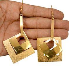 A Pair of Indian Brass Metal Cute Hippie Danglers Fashion Earrings Krishna Mart India http://www.amazon.com/dp/B00UOYDSWY/ref=cm_sw_r_pi_dp_mW.xwb07T8QS6