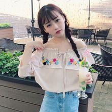 Mihoshop Ulzzang Korean Korea Women Fashion Clothing Floral flower Strapless Chiffon shirt Preppy Casual //FREE Shipping Worldwide //