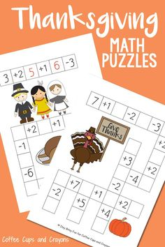 Thanksgiving Math Puzzles with Addition and Subtraction Math Fact Practice Thanksgiving Math Worksheets, Thanksgiving Activities For Kids, Creative Activities For Kids, Kids Learning Activities, Thanksgiving Crafts, Thanksgiving 2017, Autumn Crafts, Creative Kids, Kindness For Kids