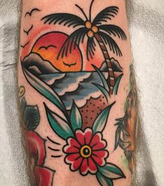 Specializes in classic bright and bold American traditional. Isaac grew up in Southern Indiana and learned to draw from his father. Traditional Tattoo Beach, Traditional Tattoo Flowers, Traditional Tattoo Design, Traditional Tattoos, Traditional Tattoo Sleeves, American Traditional Sleeve, Traditional Tattoo Forearm, Traditional Tattoo Old School, Traditional Styles