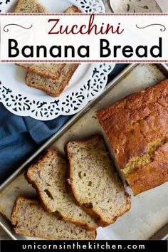 This is the best zucchini banana bread that's moist and so deliciocus! If you're looking for a healthier banana bread, this is what you need! You can add chocolate chips or make it into muffins! Moist Zucchini Bread, Healthy Banana Bread, Banana Bread Recipes, Fall Recipes, Baby Food Recipes, Snack Recipes, Recipes Dinner, Dessert Recipes, Vegetarian Recipes Easy