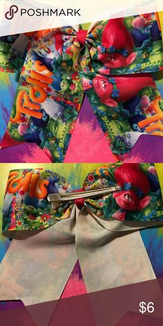 """Trolls Hair Bow Trolls  Theme 3"""" ribbon Hair Bow, alligator clip, smoke/pet free home! Trolls Accessories Hair Accessories"""