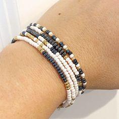 5 Hematite White & Gold Individual Beaded Bracelet Set | Etsy