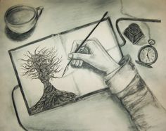 """""""He begins each notebook the same way, with a detailed drawing of a tree inscribed with black ink inside the front cover. From there the black branches stretch onto the subsequent pages, tying together lines that form letters and symbols, each page almost completely covered in ink. All of it, runes and words and glyphs, twisted together and grounded to the initial tree. There is a forest of such trees, carefully filed on his bookshelves."""""""