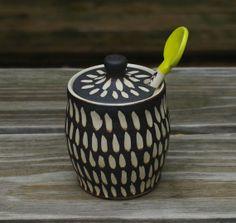 Ceramic Sugar Bowl or Honey Jar Black and White by ThrowingShop, $40.00