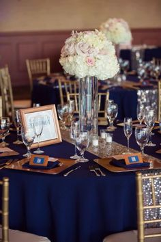 Navy Blue Poly Cotton Linen I Gold Sequined Runner I Gold Square Chargers I White Hydrangea & Pink Rose Centerpieces I Trevor Dayley Photography | Trilogy at Vistancia Wedding – Catherine & Nate | http://www.weddingsatvistancia.com/vistancia_weddings/index.asp I Navy Blue & Gold Wedding