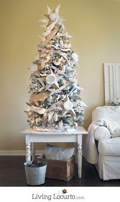 Beautiful DIY White Painted Christmas Tree. LivingLocurto.com