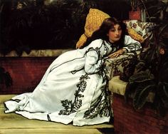 I love the braid pattern on the dressing gown.  James Tissot, A Girl in an Armchair WikiPaintings.org - the encyclopedia of painting