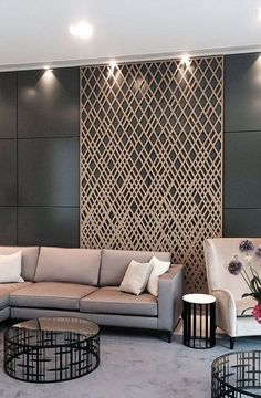 Learn more about how to style your Entryway & Loby into a mid-century aesthetic! | www.delightfull.eu | Visit us for more inspirations about: Laser Cut Screens, Laser Cut Panels, Partition Design, Hotel Decor, Screen Design, Office Interiors, Living Room Designs, House Design, Design Hotel
