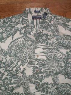 MENS medium ROUNDTREE & YORKE s/s HAWAIIAN SHIRT khaki beige FLORAL PRINT nice!