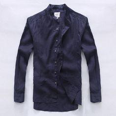 Stand collar linen shirt male long-sleeve loose casual shirt spring and autumn fluid navy blue shirt