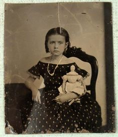 Antique Tin Type Photo Little Girl with Doll Photograph