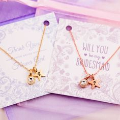 personalised tiny gemstone necklace on bridemaid card by j&s jewellery | notonthehighstreet.com