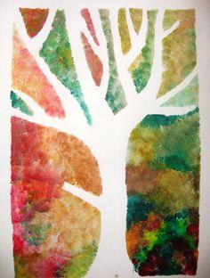 Stromy -tisk přes šablonu