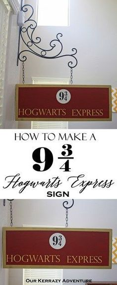 Harry Potter 9 Harry Potter DIY Tutorial- Hogwarts Express Sign- Harry Potter Party Ideas - Want to make your own DIY Platform 9 sign? It's easy. I am so happy with how my Hogwarts Express sign turned out. Baby Harry Potter, Harry Potter Fiesta, Estilo Harry Potter, Harry Potter Nursery, Harry Potter Classroom, Theme Harry Potter, Harry Potter Wedding, Harry Potter Birthday, Harry Potter Bathroom Ideas
