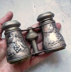 Antique Silver-Plate Chevalier Paris Opera Glasses with Birds and Berries