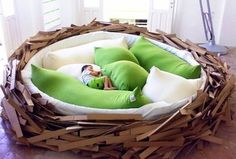 Contemporary Playroom with Body pillow, Giant Birdnest by OGE CreativeGroup, Cardboard, Nest bed, Tile floor