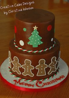 ♥ Gingerbread Cake by Christina at Creative Cake Designs. From December the gingerbread people represent the grandkids of the recipient. Gingerbread Cake, Christmas Gingerbread, Pretty Cakes, Cute Cakes, Bolo Cake, New Year's Cake, Christmas Sweets, Christmas Cakes, Holiday Cakes