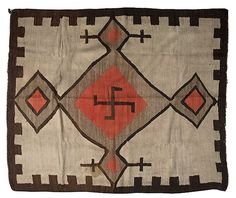 Navajo Regional Weaving.The sun wheel,or swastika is an ancient mystic symbol,found throughout the world,tragic that it has been debased.