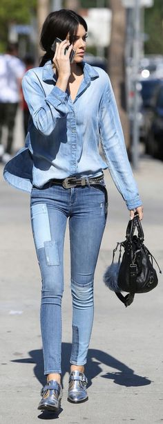 Kendall Jenner wearing Balenciaga Mini Pompon Bag, Fendi Textured-Leather and Fox Monster Bag Charm, Barbara Bui Mirror Leather Derby Shoes, Black Orchid Denim Noah Mid Rise Super Skinny Jeans and Bella Dahl Button-Down Denim Shirt Superenge Jeans, Mode Jeans, All Jeans, Oxford Outfit, Kendall Jenner, Silver Oxfords, Silver Shoes, Denim Fashion, Star Fashion