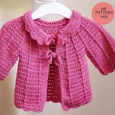 Instant download - Crochet PATTERN (pdf file) - Candy Pink Baby Cardigan