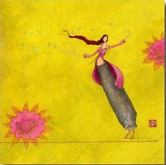 I like the colours and the flow. Art And Illustration, Marie Cardouat, Art Fantaisiste, Art Mignon, Art Carte, Creation Art, Art Moderne, Whimsical Art, Beautiful Paintings