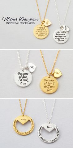 Shop personalized mother daughter necklaces stamped or engraved with mom & child's names. Mommy Necklace, Mother Daughter Necklace, Family Necklace, Mom Jewelry, Jewelry Gifts, Jewelry Making, Unique Jewelry, Custom Jewelry, Jewlery