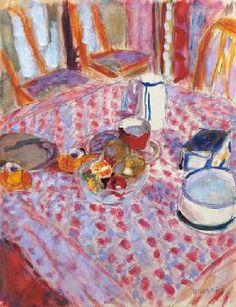 Pierre Bonnard: After Breakfast; Still LIfe on a Red Checkered Tablecloth / Pierre Bonnard - Pierre Bonnard, Paul Gauguin, Checkered Tablecloth, Edouard Vuillard, Paint Schemes, Henri Matisse, French Artists, Painting Techniques, Painting Tips