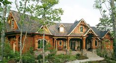 This Craftsman style home plan with Shingle influences (House Plan has 4100 square feet of living space. The 2 story floor plan includes 4 bedrooms. Mountain Cottage, River Cottage, Mountain Style, Lake Cottage, Cottage Chic, Cottage Floor Plans, Open Space Living, Living Spaces, Craftsman Style House Plans