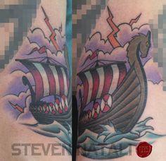Custom Traditional Viking Ship by Steven Natali at Urban Element Tattoo. Denver, CO - Imgur