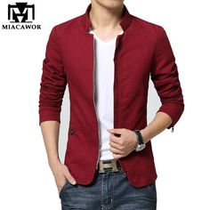 Mens Suits Blazer Coat Cotton 2017 New Fashion Business Casual Men Long-sleeved Suit Jackets Coat Popular Hot Selling Size Casual Blazer, Men Casual, Mode Man, Slim Fit Jackets, Suit Jackets, Stylish Mens Outfits, Latest Mens Fashion, Blazers For Men, Suit Fashion