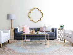Bohemian Glam Living Room: Soft, feminine hues, accented with pretty pieces of bronze and metallic and plush, velvet furniture.