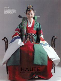 traditional Korean wedding attire for bride. Korean Traditional Dress, Traditional Fashion, Traditional Dresses, Korean Accessories, Korea Dress, Modern Hanbok, Korean Wedding, Korean Fashion Trends, Hanfu