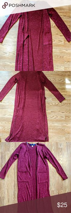 Maroon Floor Length Cardigain Maroon floor length cardigan.  Has two slits up the sides, and is super soft and comfortable. Never been worn and is made of 70% polyester, 25% rayon and 5% spandex. Francesca's Collections Sweaters Cardigans