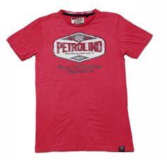 Petrol, t-skjorte med petrolprint.