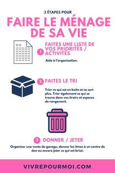 Faire le ménage de sa vie pour augmenter sa productivité. #ménage #vie #productivité #clean #messinesss #mess #clutter #life Organisation, Life